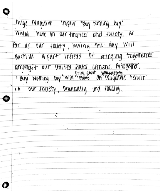 argument essay michiyia s ap english portfolio although some believe buy nothing day helps increase consciousness of over purchasing in reality the day destroys our nation financially and